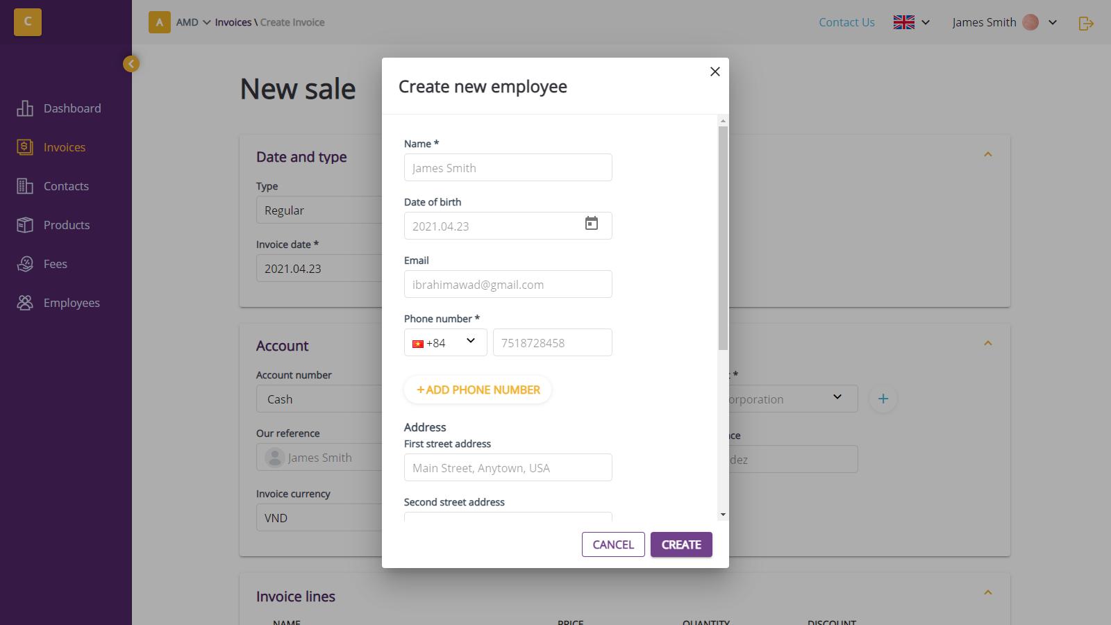 Create new employee dialog