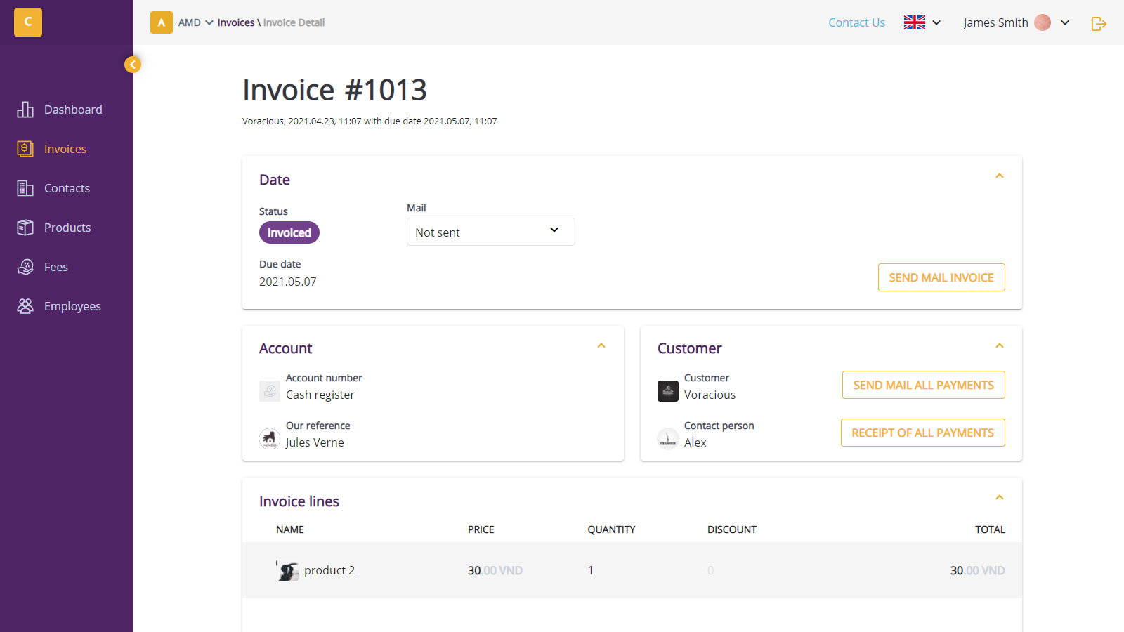 Real invoice detail