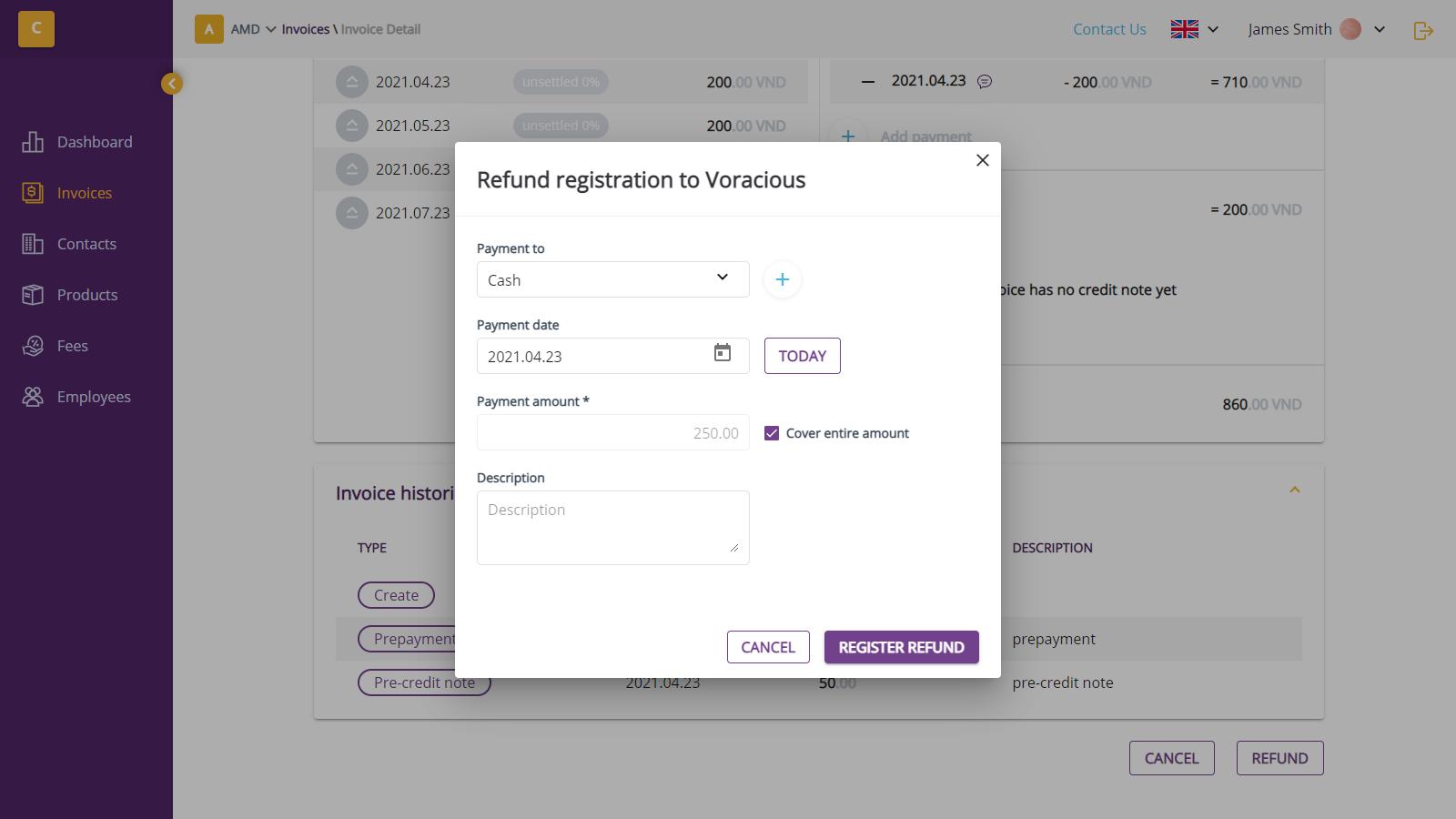 Register refund dialog